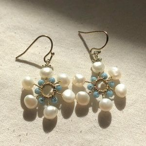 H A N D M A D E  pearl and bead earrings!